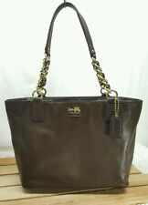 COACH Madison Leather Zip Tote Mahogany Chain Linked Handles 20466