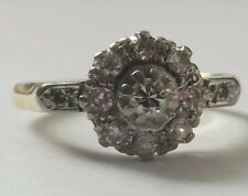 Antique 18ct Gold Diamond Art Deco Platinum Daisy Ring 1920s