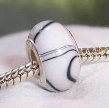 White Black Stripe Pattern Acrylic Bead for Silver European Style Charm Bracelet