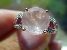 14K RG/SS 4.17tgw Genuine Galilea Rose Quartz, Rhodolite Garnet Ring Size 8