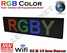 RGB 52X15 Inch Semi Outdoor LED Scrolling Programmable Sign USB Wifi Mobile App