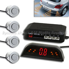 4 PC SILVER RADARS BACKUP SENSOR KIT W/ WIRELESS LED DISPLAY DISTANCE AND BUZZ