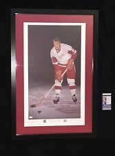 GORDIE HOWE SIGNED DETROIT RED WINGS FRAMED & MATTED LITHOGRAPH JSA COA