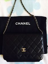 Auth Chanel Black Lamskin Leather Silver HW WOC wallet on chain Bag-Cute!
