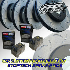 Front+Rear Slotted Only CSR [88ROTORS] Brake Rotors & Stoptech Pads Miata MX5