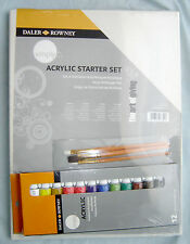 Daler Rowney Simply Acrylic Paint Starter Set of 12 Tubes Canvas & Brushes