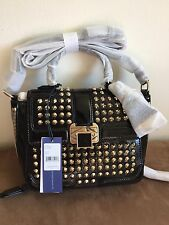 NWT Rebecca Minkoff Elle Mini Gold Studded Patent Leather Handbag Crossbody Blk