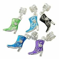 5pcs Alloy European Dangle Beads Enamel Rhinestone Shoes Mixed Color X-MPDL-H005