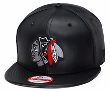 New Era Chicago Blackhawks Snapback Hat Cap All Black Leather/Grey Chief 9fifty