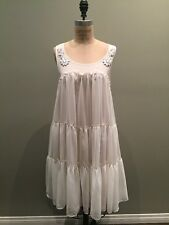 H&M Conscious White Shift Ruffle Crepe Dress Sz M/L