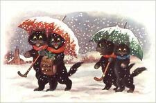 CATS, CHATS, KATZEN, CHRISTMAS, SNOW, UMBRELLAS, FRIDGE MAGNET