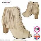 NEW BEIGE TASSEL LADIES FRINGED OPEN TOE SHOES ANKLE WOMENS HIGH BLOCK HEEL LACE