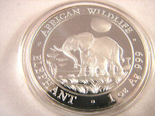 2011 Somalia African Wildlife Elephant 1 Troy Oz .999 Silver BU Coin in Capsule