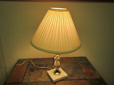Vintage  CLEAR GLASS LIKE TABLE LAMP ON MARBLE BASE with SHADE