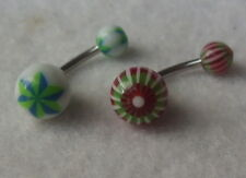 2 Pretty Baubles Multi-coloured Belly Bars Button Navel Rings Body Piercing - UK