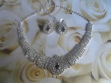 JS02 Wedding Prom Party Bridal Black Diamante Crystal Necklace Earrings Set  -