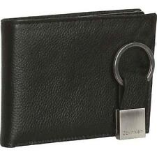 New Calvin Klein Men's Black Leather Passcase Billfold Wallet Key Fob 79080