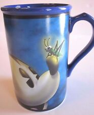 "MICKEY Mouse w CRICKET on Nose DISNEY STORE Lg 5.5"" 20 ounce MUG Creamy BLUE"