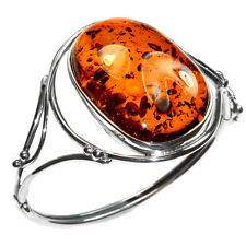32.6g Authentic Baltic Amber 925 Sterling Silver Cuff Bracelet Jewelry A0154