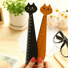 Black Korea Kawaii Cat Kitty Face Stationery Wood Ruler Sewing Ruler CA