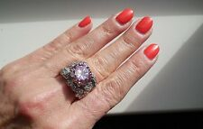 "NEW ""designer inspired"" Large Light Pink CZ Ring w.Pave Detail size 7"