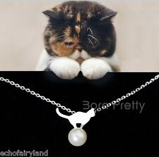I Pc Lovely Cat with Pearl Necklace Womens Jewelry Hot Design Fashion Gifts