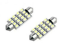 2 White 16 SMD LED Car Number Plate Registration Dome Light Bulbs 41mm DE440 12V