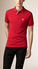 Burberry Brit Men Casual Short Sleeve Nova Mens Polo Shirt Military Red L Large