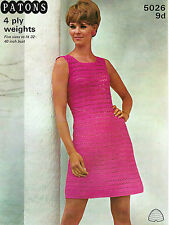 """LADIES CROCHET PATTERN LOVELY VINTAGE 4ply DRESS 5 SIZES 32-40"""" BUST"""