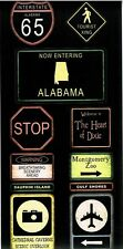 SS - FC - Alabama Road Signs Scrapbooking Stickers - Travel, Road Trip