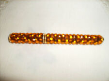 "FREE SHIPPING gold GEMS SPARKLE PEN NEW Rhinestone Refillable Black Ink 5"" Long"