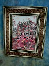 Vintage Persian Khatam Picture Frame With Glass and Picture