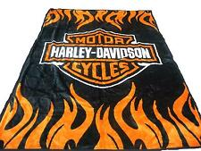 New Mink Harley Davidson Queen Size Double Side Plush Reversible Blanket Black