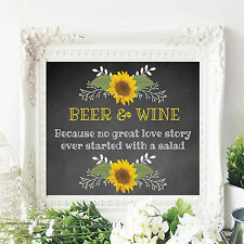 Wedding Table Sign Beer and Wine Sign Rustic Chalkboard w Sunflowers 8x10