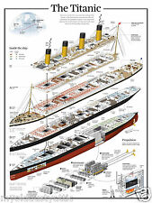 TITANIC POSTER ~ CUTAPART Ship Schematic Plans - Cutaway 18 x 24