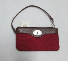 Fossil Key Per East to West Zippered Wristlet Red NWT