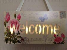 Led Light Up Shabby Chic Vintage Butterfly & Roses Welcome Sign Plaque