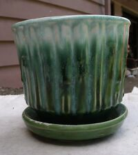 Vintage McCoy Green Bamboo Planter,round,1950s,pottery,water catch -plants,decor