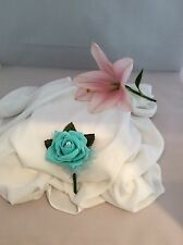 BLUE FOAM ROSE BUTTONHOLE ARTIFICIAL SINGLE FLOWER - WEDDINGS