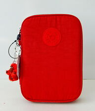 NWT Kipling 100 Pens Print Case With Furry Monkey Claret Red