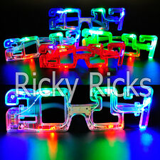 12 Light Up New Years Eve Party Glasses LED Supplies 2017 Glowing Happy Supplies