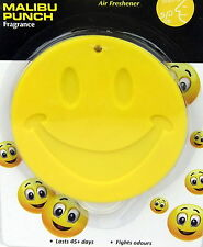 SMILE FACE CAR AIR FRESHENERS MALIBU PUNCH HANGING SCENT HOME OFFICE FRESHNER