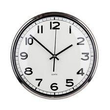 Orologio da parete in metallo argento bordo con quadrante bianco con specchio per CASA & ufficio-NUOVO