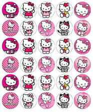 30 x topper di Hello Kitty cupcake wafer commestibile Carta Fata Cake Topper