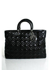 Dior Black Quilted Lambskin Leather Large Lady Dior Convertible Satchel Bag EVHB
