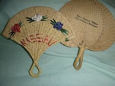 2pc vintage hand Fans (?sea grass/wicker?) Delaware Funeral Home, Nassau Bahamas