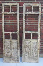"""PAIR SPANISH COLONIAL ANTIQUE WOODEN DOORS ENGRAVED OLD MEXICO 77 5/8"""""""