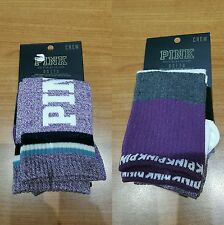 BNWT-Victoria Secret PINK X2 Purple/White/Grey Calf Length Crew Socks (One Size)