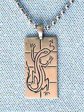GECKO LIZARD PEWTER PENDANT MENS WOMENS BOYS GIRLS SURFER NECKLACE CHAIN  PC0130