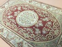 6'x9' Rust Beige Aubusson Floral Medallion French Oriental Rug Hand Knotted Wool
